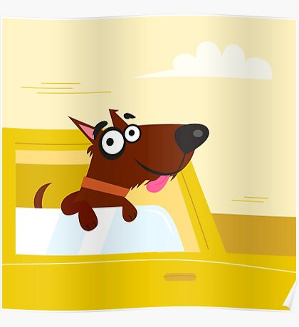 Happy brown dog travel in the car. VECTOR ILLUSTRATION. Poster