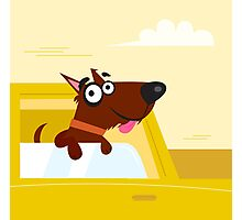 Happy brown dog travel in the car. VECTOR ILLUSTRATION. Photographic Print