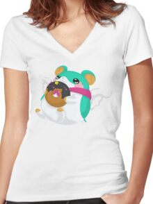 Fluffal Mouse - Yu-Gi-Oh! Women's Fitted V-Neck T-Shirt