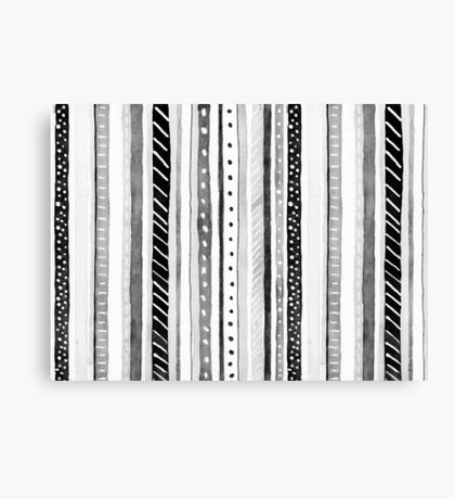 Black and White Dotty Stripe Graphic Pop Modern Polka Dot Canvas Print