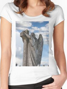 Angel statue embracing a cross  Women's Fitted Scoop T-Shirt