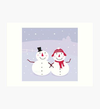Winter day: Snowman & Snow - woman, cute snowy couple Art Print