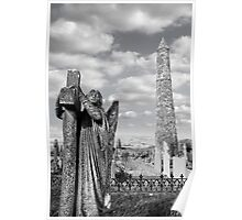 Archangel gravestone and Ancient round tower Poster