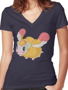 Fluffal Sheep - Yu-Gi-Oh! Women's Fitted V-Neck T-Shirt