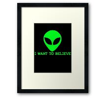 Neon I Want To Believe Framed Print