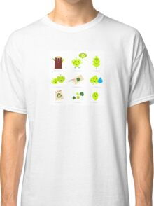 Leaf characters and nature icons isolated on white background ( green ) Classic T-Shirt
