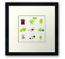 Leaf characters and nature icons isolated on white background ( green ) Framed Print