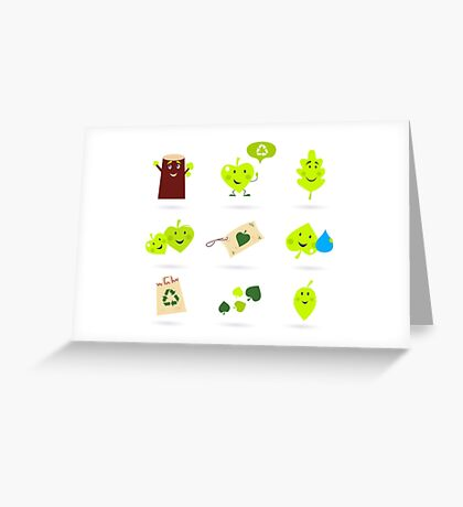 Leaf characters and nature icons isolated on white background ( green ) Greeting Card