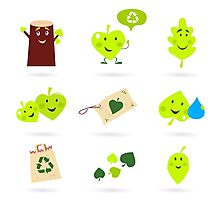 Leaf characters and nature icons isolated on white background ( green ) Photographic Print