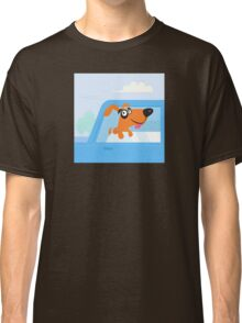Happy brown and black dog travelling in blue car Classic T-Shirt