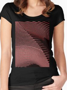 Red waves, line art, curves, abstract pattern Women's Fitted Scoop T-Shirt