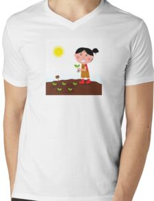 Gardening girl in red boots with green plant Mens V-Neck T-Shirt