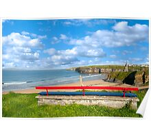 Ballybunion bench beach and castle view Poster