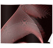 Red waves, line art, curves, abstract pattern Poster