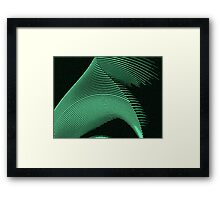 Green waves, line art, curves, abstract pattern Framed Print
