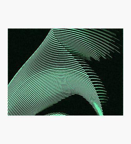 Green waves, line art, curves, abstract pattern Photographic Print