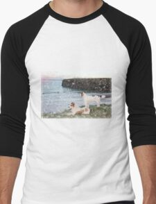 beach view with two dogs Men's Baseball ¾ T-Shirt
