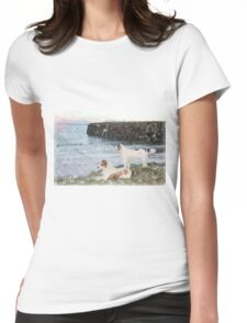 beach view with two dogs Womens Fitted T-Shirt