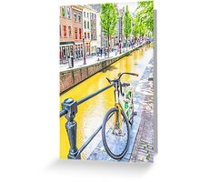 Bicycle and canal in Amsterdam Greeting Card