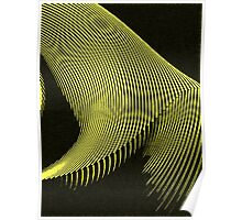 Yellow waves, line art, curves, abstract pattern Poster