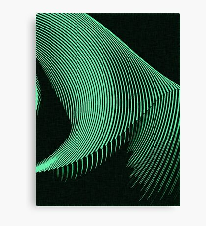 Green waves, line art, curves, abstract pattern 2 Canvas Print