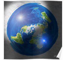 Flat Earth with Sun, Moon & Polaris Poster