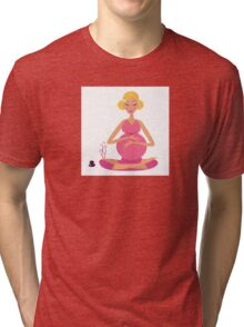 Pregnant woman doing yoga - isolated on white background Tri-blend T-Shirt