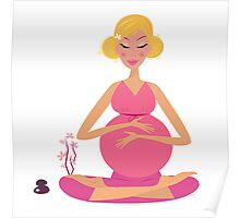 Pregnant woman doing yoga - isolated on white background Poster