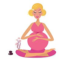 Pregnant woman doing yoga - isolated on white background Photographic Print