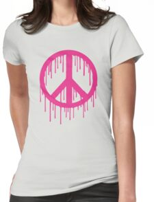 Pink Trendy modern Graffiti style Peace Womens Fitted T-Shirt
