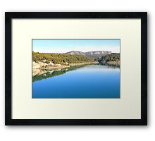 Mountain landscape with blue river, in Provence, France Framed Print
