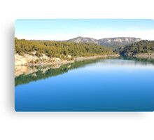 Mountain landscape with blue river, in Provence, France Canvas Print