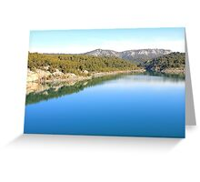 Mountain landscape with blue river, in Provence, France Greeting Card