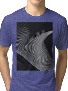 Gray waves, line art, curves, abstract pattern Tri-blend T-Shirt