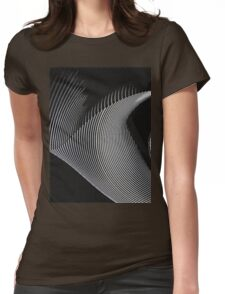 Gray waves, line art, curves, abstract pattern Womens Fitted T-Shirt