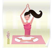 Meditating woman practicing yoga asana in exotic interior Poster