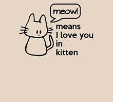 MEOW - means I love you in kitten Womens Fitted T-Shirt