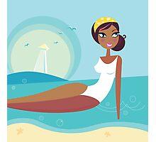 Cute stylized beach girl : Girlie - Girl according 60 years Photographic Print