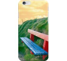 bench on a cliff edge at sunset iPhone Case/Skin