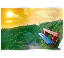bench on a cliff edge at sunset Poster
