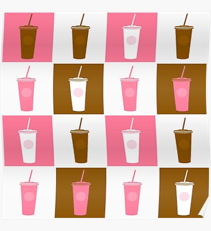 Coffee cup abstract stylized background : Cocktail brown and pink edition Poster