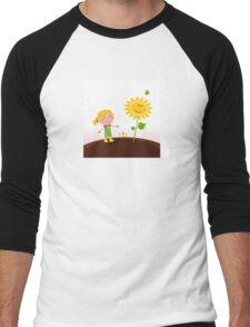 Spring gardening : Gardener child with sunflower in the garden Men's Baseball ¾ T-Shirt