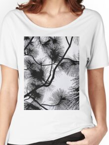 Desert flora, abstract pattern, floral design, black and white Women's Relaxed Fit T-Shirt