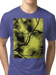 Desert flora, abstract pattern, floral design, black and yellow Tri-blend T-Shirt