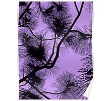 Desert flora, abstract pattern, floral design, black and purple Poster