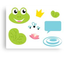 Fairy Frog cartoon icons and elements Canvas Print