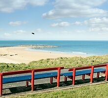 benches with views of Ballybunion beach and coast by morrbyte