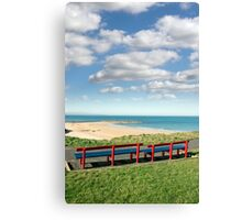 benches with views of Ballybunion beach Canvas Print