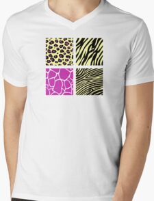 Animal print animal patterns. Original illustration. Mens V-Neck T-Shirt