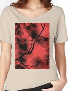 Desert flora, abstract pattern, floral design, black and red Women's Relaxed Fit T-Shirt